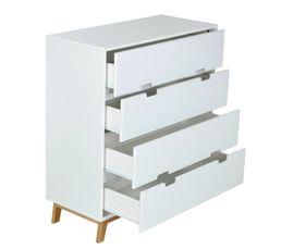 Commode 4 tiroirs Suède blanc