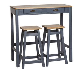 MAYA Table bar + 2 tabourets de bar Gris