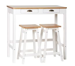 MAYA Table bar + 2 tabourets de bar Blanc