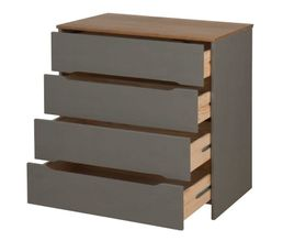 Commode 4 tiroirs ELISA coloris gris Bois massif