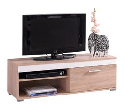 Meuble TV réversible LORENZO Blanc ou Taupe