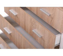 Commode 4 tiroirs FELIX Décor sonoma et blanc