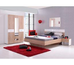 Armoires - Armoire 3 portes dont 1 miroir FELIX Décor sonoma et blanc