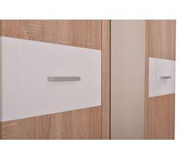 Armoire 3 portes dont 1 miroir FELIX Décor sonoma et blanc