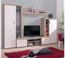 mur tv kons blanc et bois gris meubles tv but. Black Bedroom Furniture Sets. Home Design Ideas