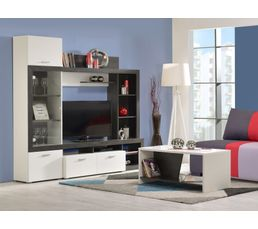 mur tv lester bois noir et blanc meubles tv but. Black Bedroom Furniture Sets. Home Design Ideas