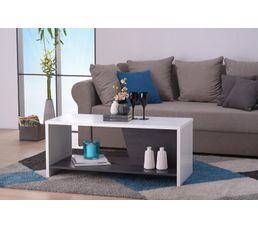 Table basse ERIC Blanc et bois noir