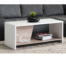 Table basse eric blanc et bois gris tables basses but for Table basse grise bois