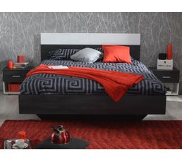Lit 140x190 cm + 2 chevets FELIX coloris noir et blanc