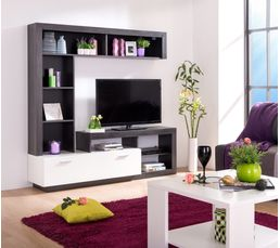 mur tv glen blanc et bois noir meubles tv but. Black Bedroom Furniture Sets. Home Design Ideas