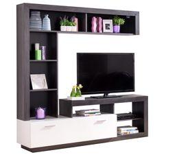 Meubles Tv - Mur TV GLEN Blanc et bois noir