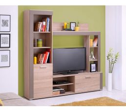 mur tv heron ch ne et taupe meubles tv but. Black Bedroom Furniture Sets. Home Design Ideas