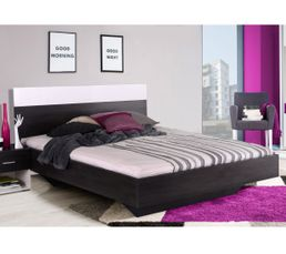 lit 140x190 cm felix d cor bois noir et laqu blanc lits but. Black Bedroom Furniture Sets. Home Design Ideas