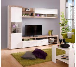 Meubles Tv - Mur TV FIONA Blanc et bois gris