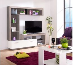 mur tv glen blanc et bois gris meubles tv but. Black Bedroom Furniture Sets. Home Design Ideas