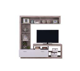 Mur TV GLEN Blanc et bois gris