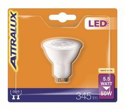 Ampoule LED 5,5W équiv 50W 345lm GU10 Blanche chaud