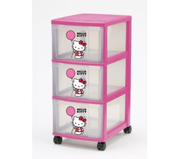 Boites De Rangement - Tour 3 tiroirs HELLO KITTY Rose