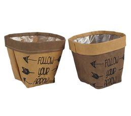 Panier GM cache pot papier Marron