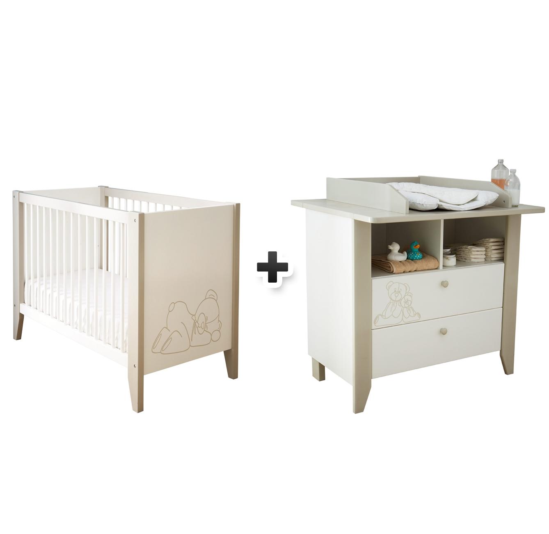 Commode plan à langer + lit bébé OURSON