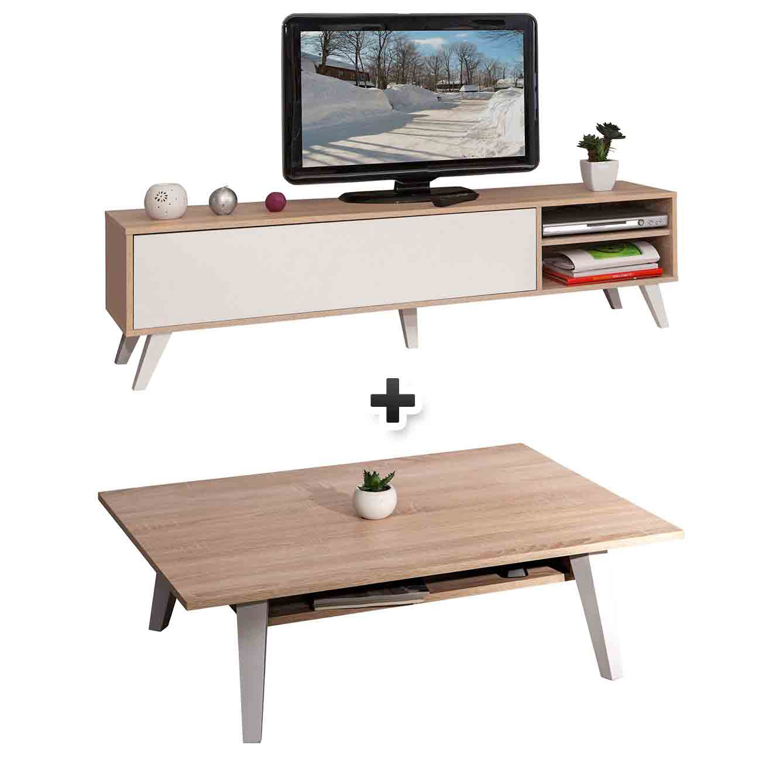 - Meuble TV + table basse COSMOS ch�ne et blanc