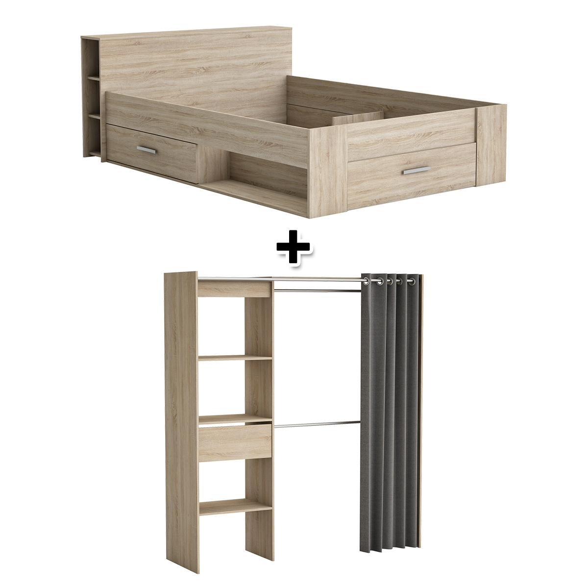 Lit 140X190 cm SMART chêne + armoire dressing MOKA chêne brossé