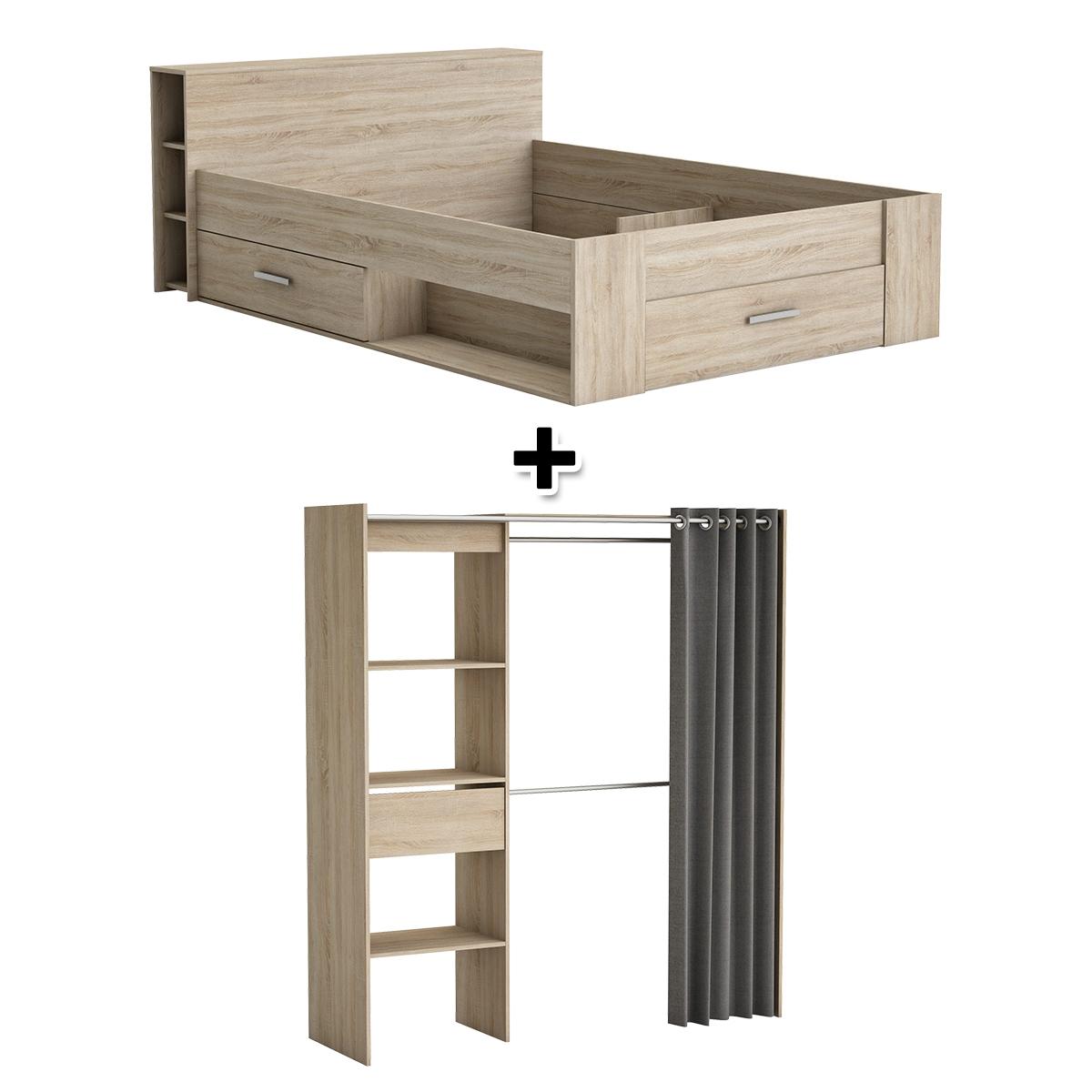 - Lit 140X190 cm SMART ch�ne + armoire dressing MOKA ch�ne bross�