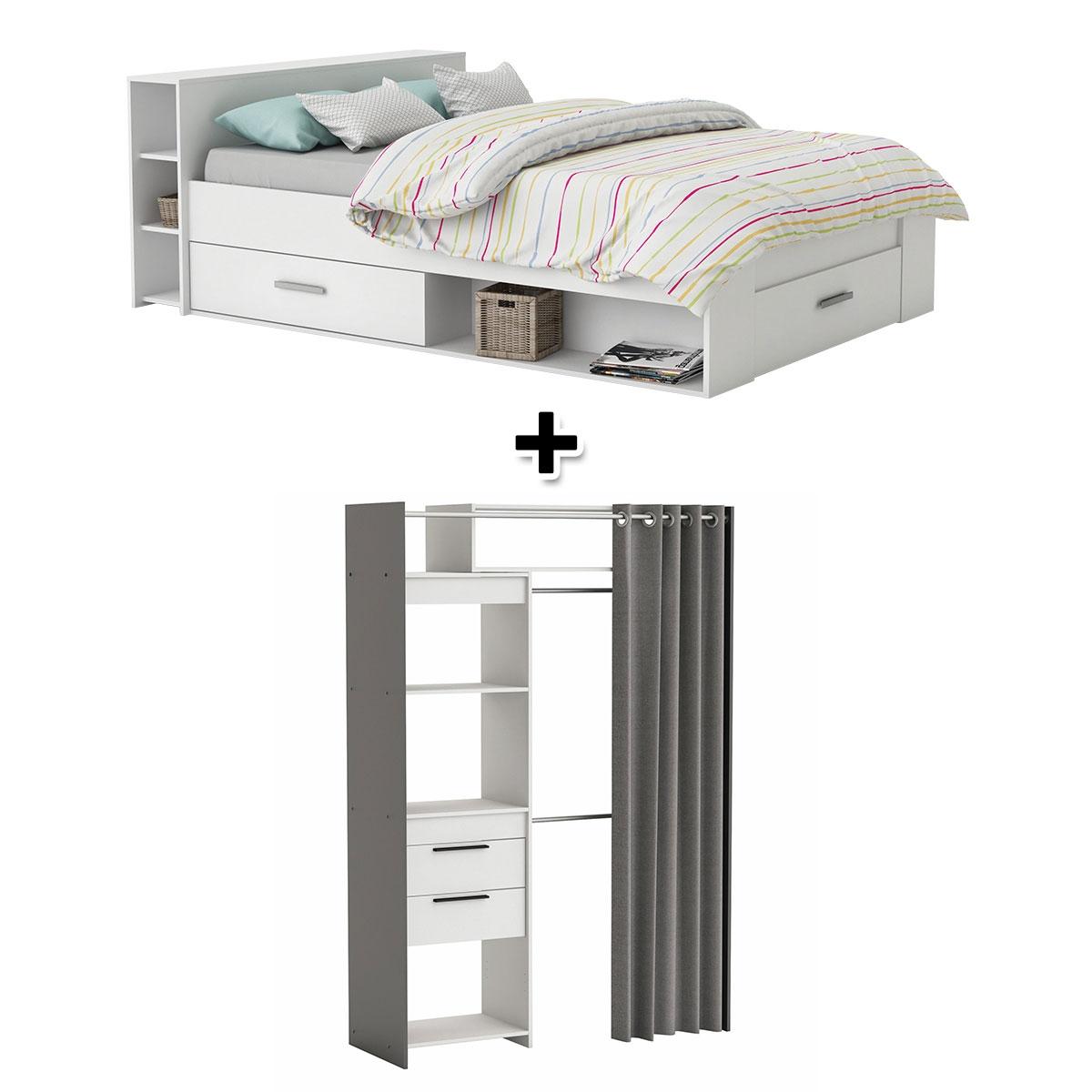 - Lit 140X190 cm SMART blanc + Armoire dressing SANTIAGO gris et blanc