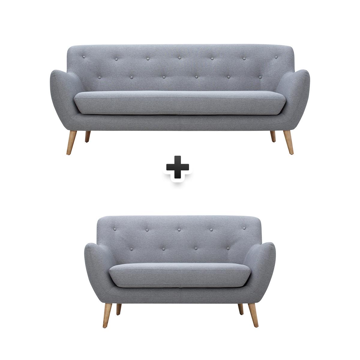 - Canapé 3 places + canapé 2 places tissu gris clair MILO