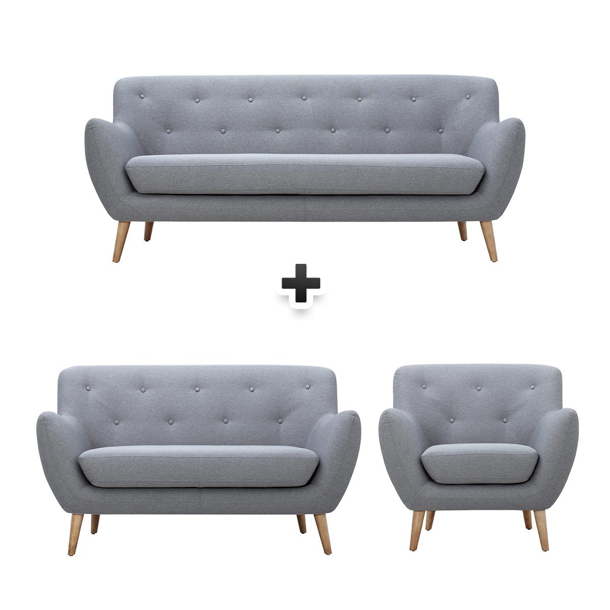 Canapé 3 places + canapé 2 places + fauteuil tissu gris clair MILO