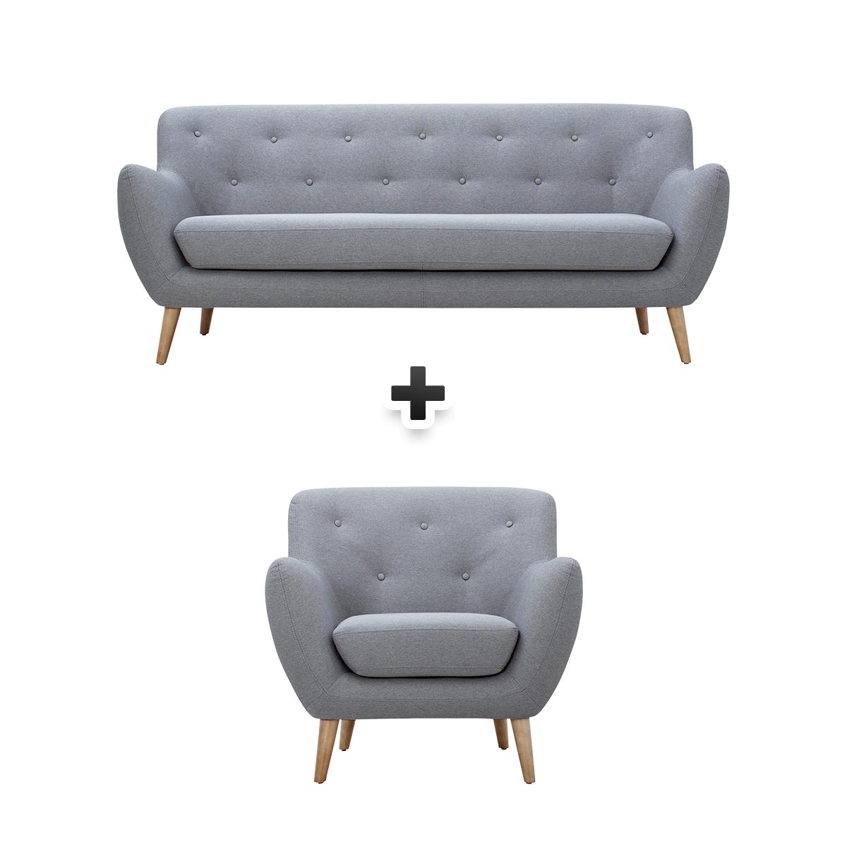 Canapé 3 places + fauteuil tissu gris clair MILO