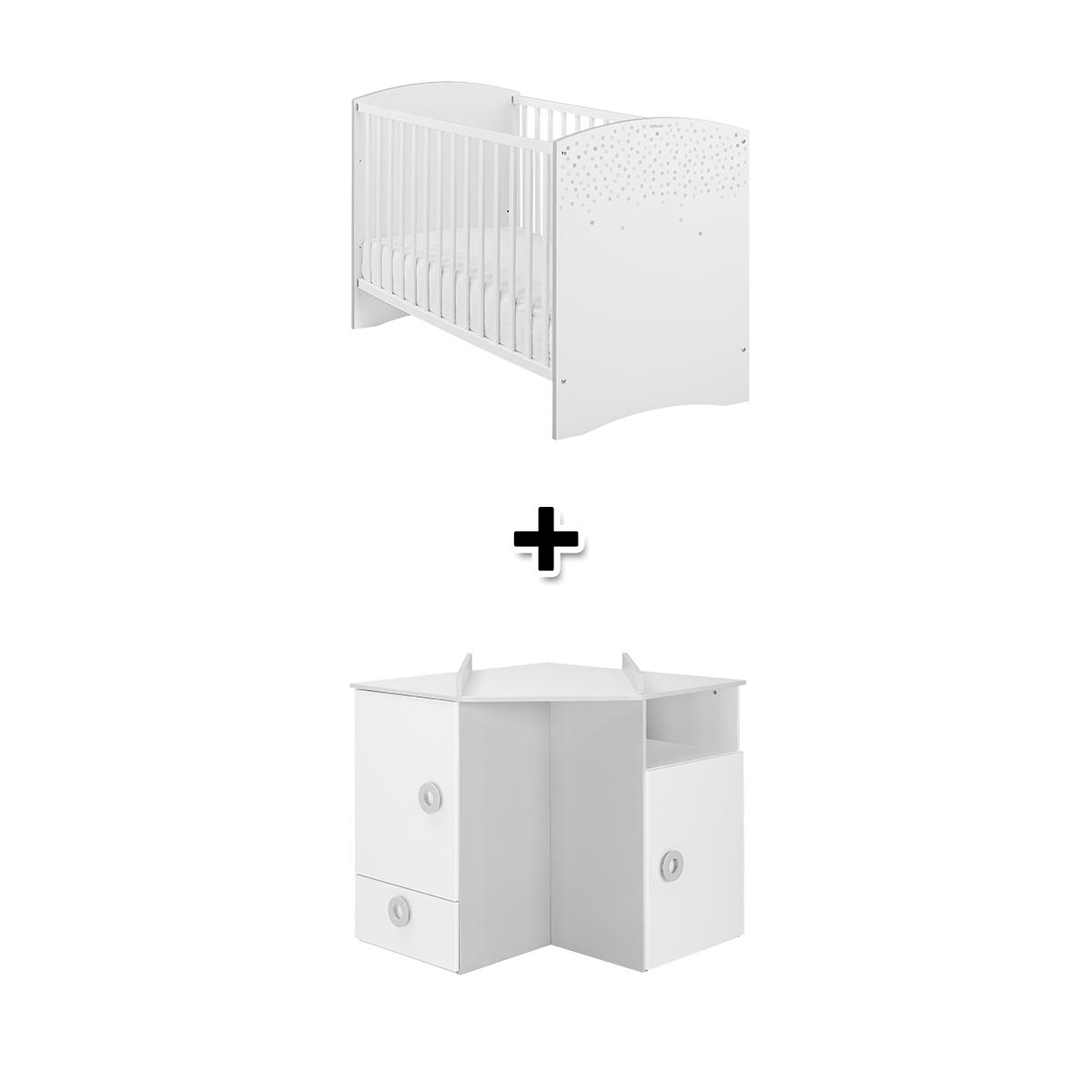 Lit 60x120 cm + commode � langer d'angle ZOE