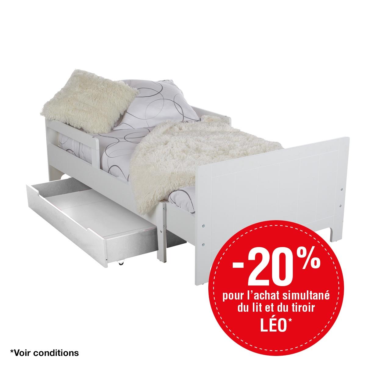 - -20% sur Lit �volutif LEO Blanc + Tiroir Blanc