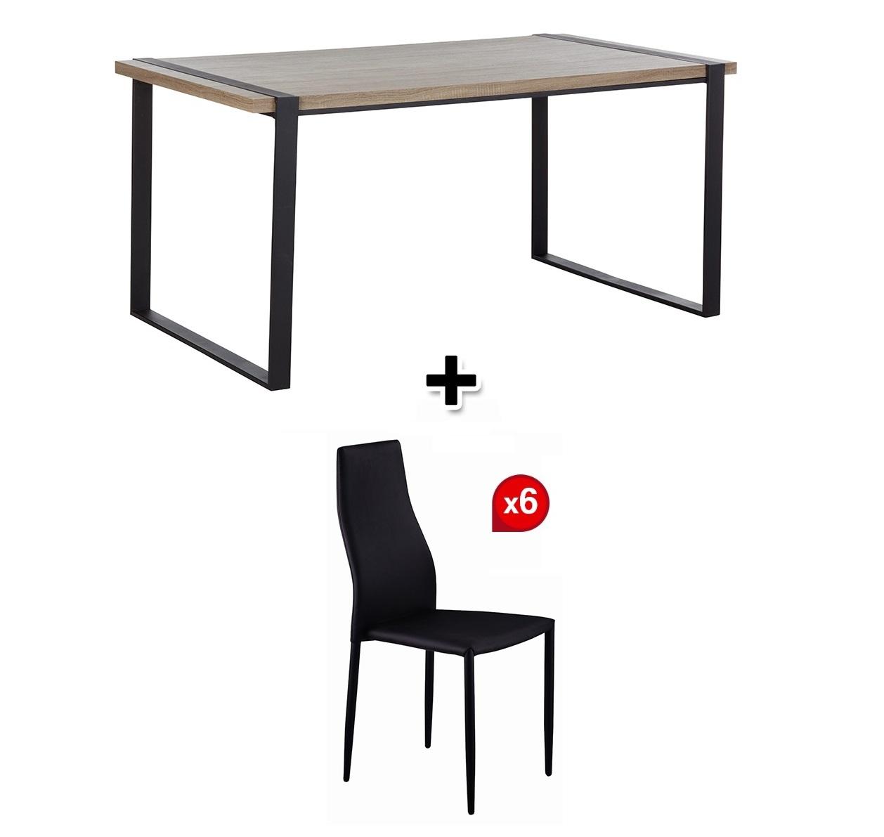 PARK AVENUE table de séjour + 6 chaises WENDY noires