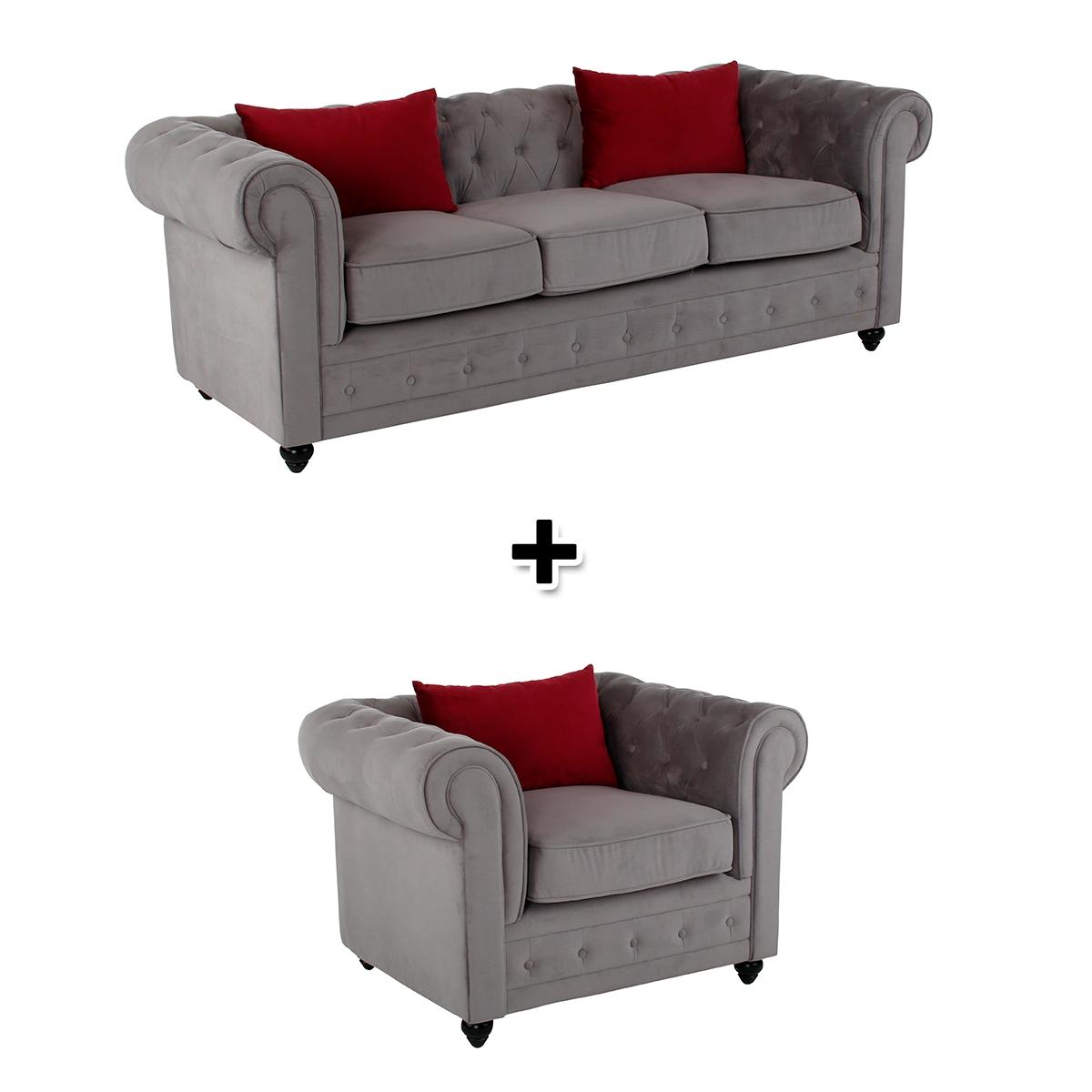 Canapé 3 places + fauteuil tissu gris clair CHESTER