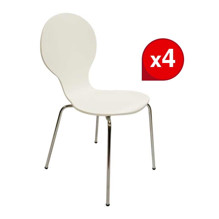Lot de 4 Chaises SPOON 2 Blanches