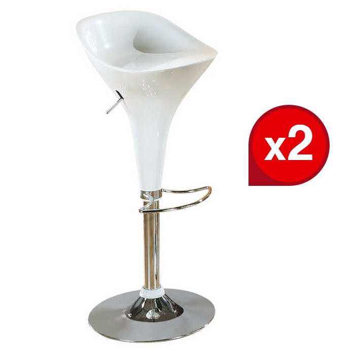 Lot de 2 tabourets de bar PICADILLY Blanc