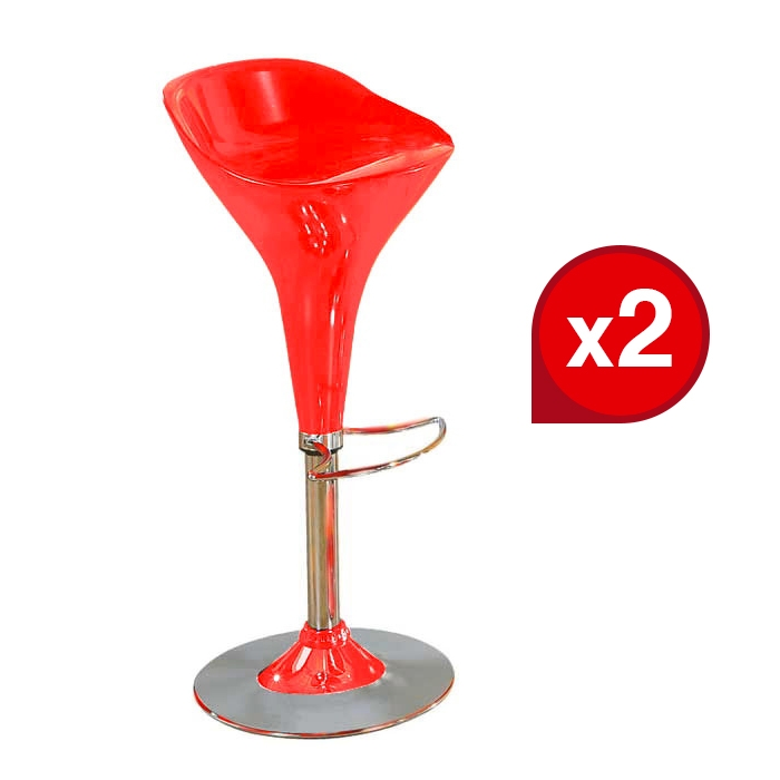 Lot de 2 Tabourets de bar PICADILLY Rouge
