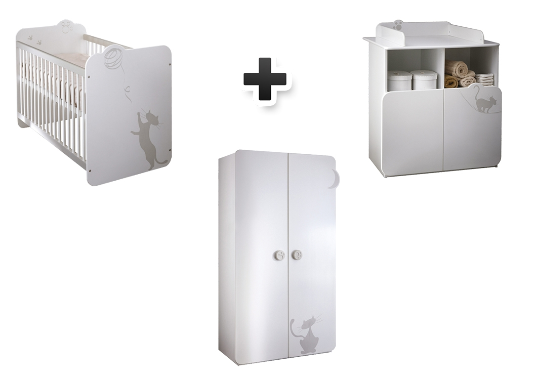 lit b�b� 60x120 cm + commode plan � langer + armoire 2 portes KITTY