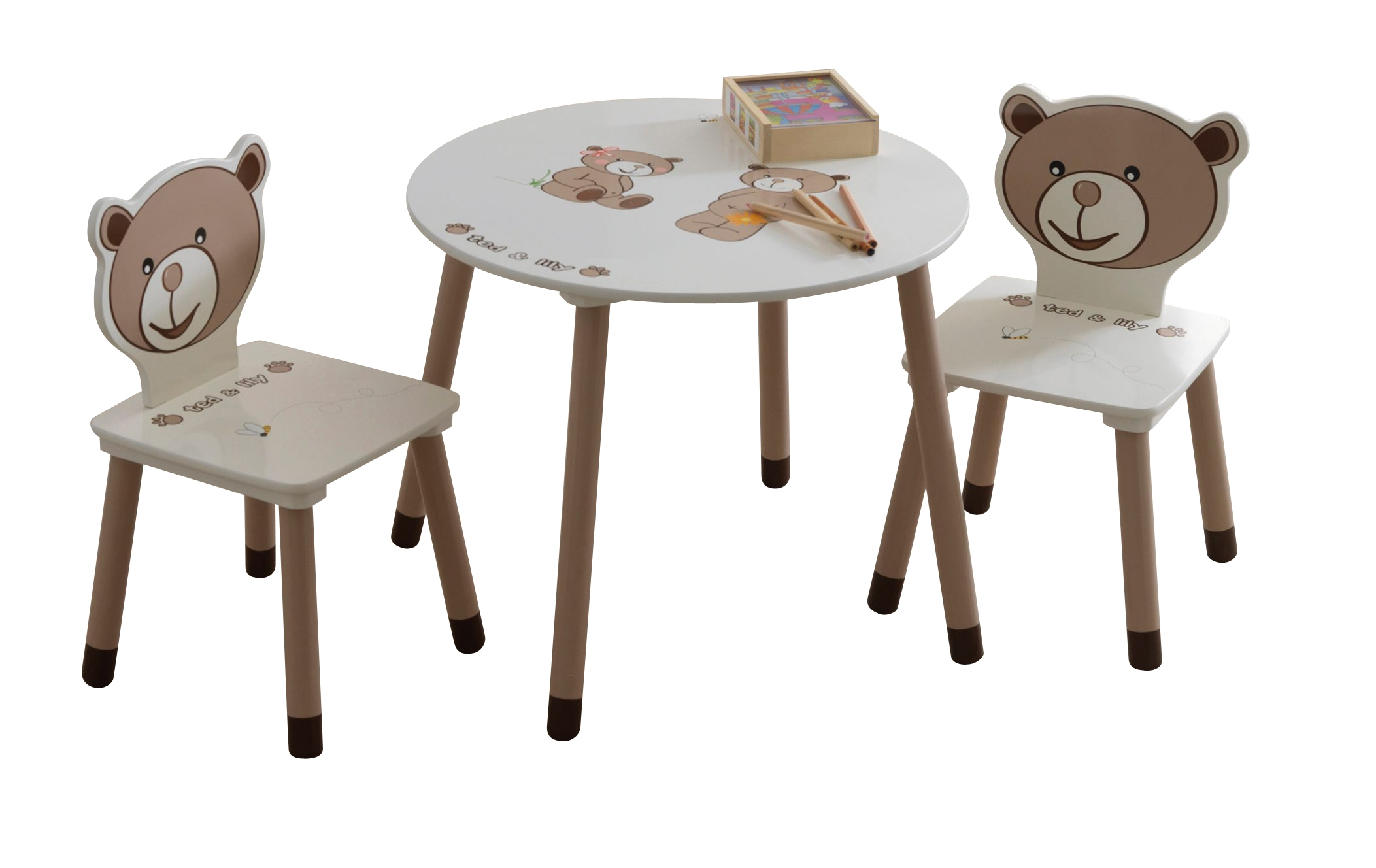 - Table enfant + 2 chaises TEDLY - Motifs Ourson