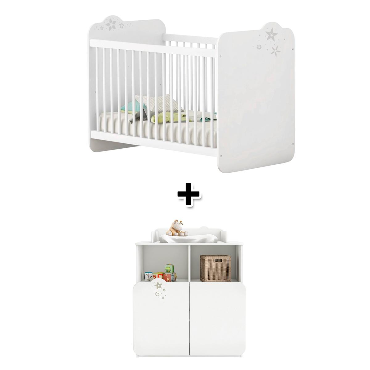 - Lit bébé 60x120 cm + commode à langer CELESTE