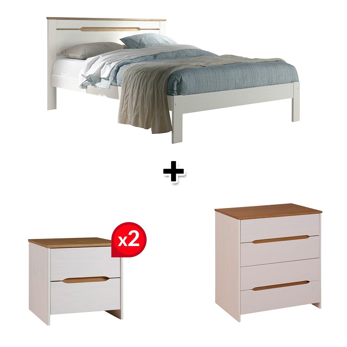 Lit 140x190 cm + commode + 2 chevets ELISA coloris blanc