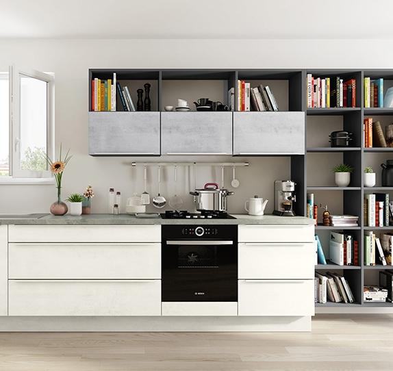 cuisine quip e au look naturel affiche des fa ades aux d cors ch ne ou pin. Black Bedroom Furniture Sets. Home Design Ideas