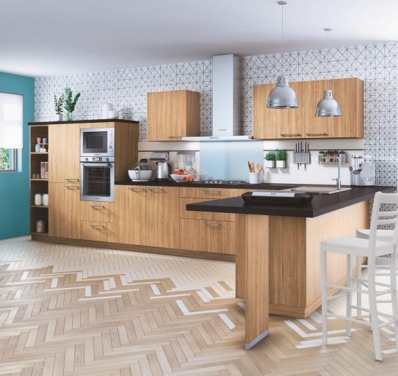 cuisine moderne imitation bois. Black Bedroom Furniture Sets. Home Design Ideas