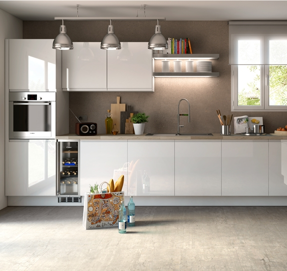 Cuisine am nag e blanc brillant design et la qualit irr prochable for Cuisine en bois blanc