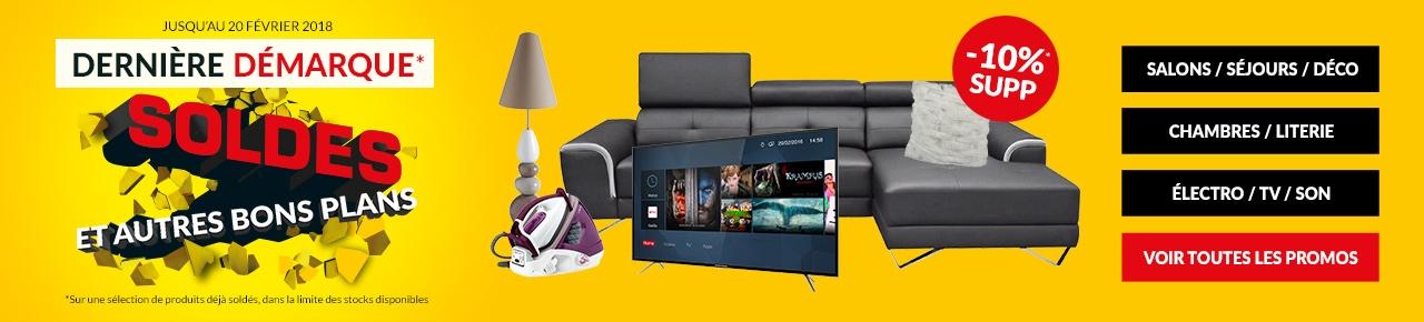 soldes jusqu 39 70 salon literie electro tv stocks limit s. Black Bedroom Furniture Sets. Home Design Ideas
