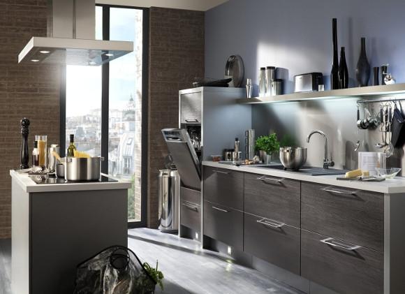 Tendance des cuisines aux fa ades en bois clairs et bois for Cuisine bois gris moderne