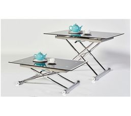 Table basse relevable UP & DOWN 2 Verre et Chrome