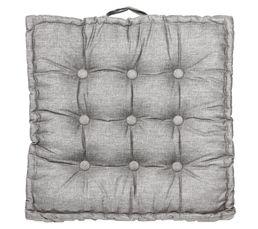 Structure : 55% lin, 45% viscose. Finition : 9 boutons. Garnissage : 70% polyester, 30% coton. Dimensions en cm : 65 x 65.