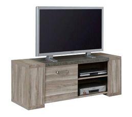 Meuble TV L.140 cm STONE Chêne gris